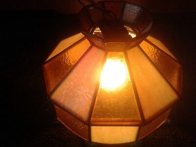 Vintage Slag Stained Leaded Glass & Amber Glass Hanging Lamp