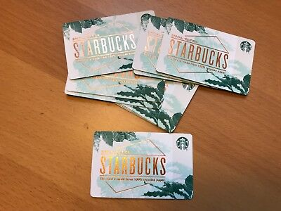 10 New Starbucks 2018 Recycled Paper Gift Cards Lot, Limited Special Edition