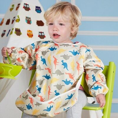 Baby Kids Waterproof Bibs Bandana Feeding Toddler Long Sleeve Apron Painting 2-6