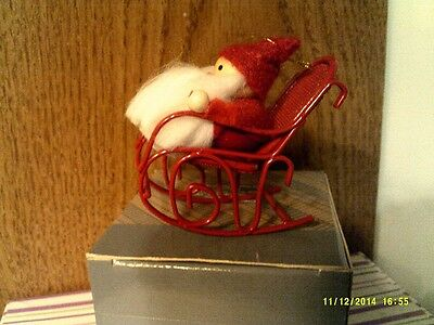 VINTAGE Avon FROLICKING SANTA IN ROCKING CHAIR Ornament-NEW IN BOX-FREE SHIPPING