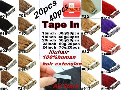 "14""-22"" Seamless TAPE IN 100% Human Skin Weft  Hair Extensions Brown Blonde AU"