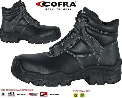 Mens COFRA Leather S3 Metal Free Composite Toe Cap Safety Boots Hiker Work Shoes