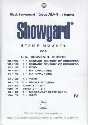 Showgard Stamp Mounts Set Group AB US Souvenir Sheets to 1975 Black 11 Pack New