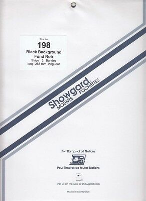 Showgard Stamp Mount Strips For US Miniature Sheets 198mm Black Pack Of 5