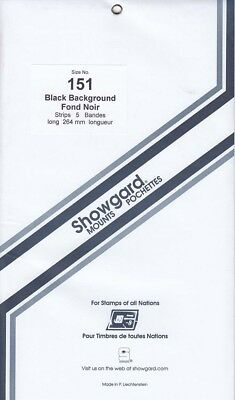 Showgard Stamp Mount Strips For Antique Auto, Communication 151mm Black Pck Of 5