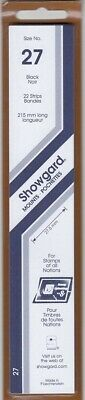 Showgard Stamp Mount Strips 27mm Black US Famous Americans, UN 1 Pack