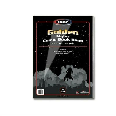 Golden Mylar Comic Book Bags 4 mil Pack of 25 BCW Archival Polyester Semi Rigid