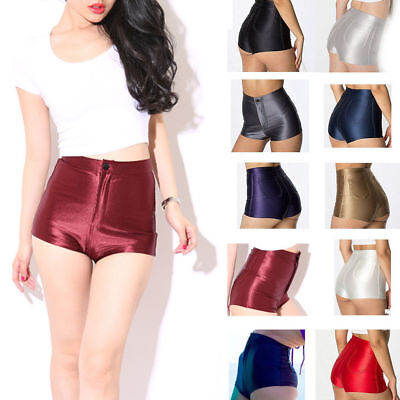 Uk Stock Womens/ladies High Waisted American Shiny Disco Style Shorts/hot Pants