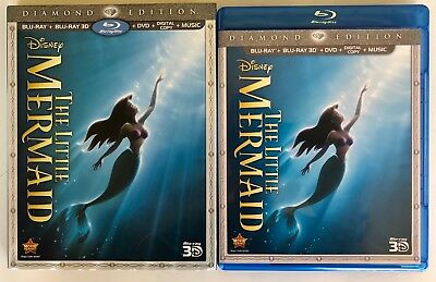 Disney The Little Mermaid 3D Blu Ray Dvd Diamond Edition + Slipcover Rare Oop