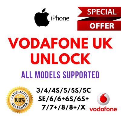 VODAFONE UK FACTORY UNLOCK SERVICE CODE iPhones 4/4s/5/5s/5c/SE/6/6s/7/8/X Plus