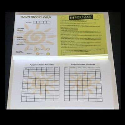 100 pack Client customer record Cards for Sunbed Tanning Salons