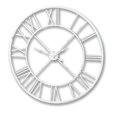 Antique White Roman Numeral Wall Clock -  Wonderful Addition To The Home.