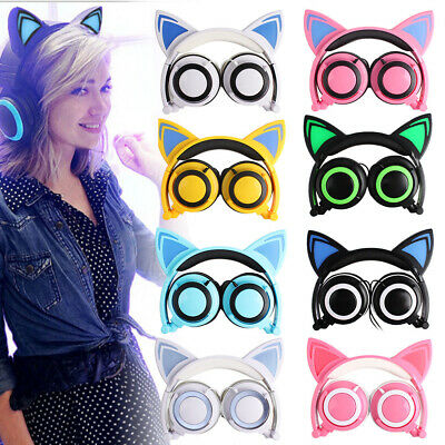 Great Foldable Cat Ear Headset LED Music Lights Headphones Earphone for phone