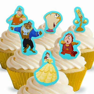 Cakeshop 12 x PRE-CUT Disney Beauty and the Beast Stand Up Edible Cake Toppers