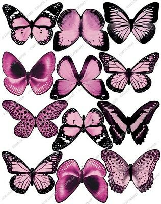 Cakeshop 12 x PRE-CUT Light Pink Edible Butterfly Cake Toppers