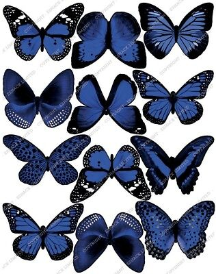 Cakeshop 12 x PRE-CUT Blue Edible Butterfly Cake Toppers
