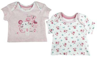 Girls Baby PACK OF 2 Floral Mouse T-Shirt Tops Tiny Prem Baby to 12 Months