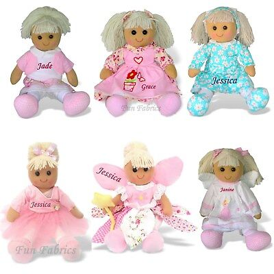 Personalised Rag Doll Birthday Baby Flower Girl Christmas Sister Christening
