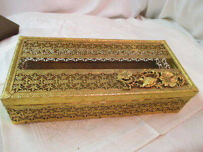 Vintage gold filigree Tissue Box Holder Hollywood Regency applied Poppies Flower