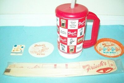Lot of Five Vintage Frisch's Big Boy Items, Four of them from 1960s & 1970s