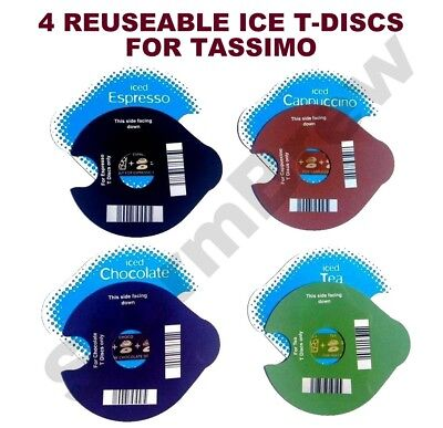 4 Reuseable Ice T-Discs For Tassimo Cappuccinos, Coffee, Tea & Chocolate Pods