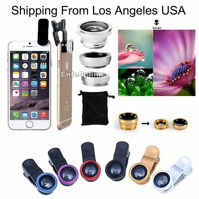 For Smart Phone Small Camera Lens Kit, Clip-on Wide, Angle Fish Eye Macro180