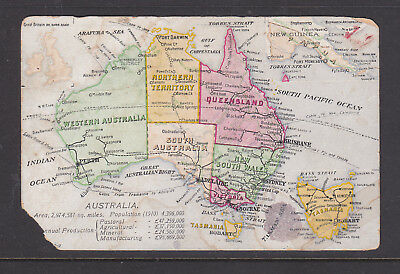 POSTCARD: 1900s MAP OF AUSTRALIA, SCARCE CARD IN POOR CONDITION.