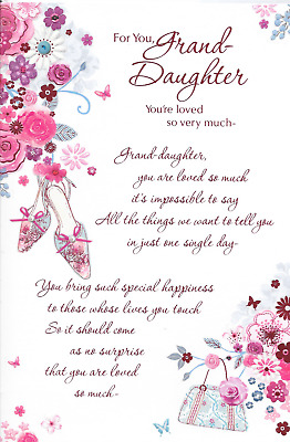 for you granddaughter birthday card pink flowers sentimental verse