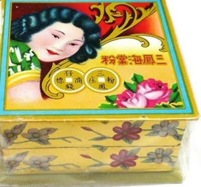 Sam Fong Hoi Tong Traditional Chinese Powder White Pressed 三风海棠粉 Hair Face