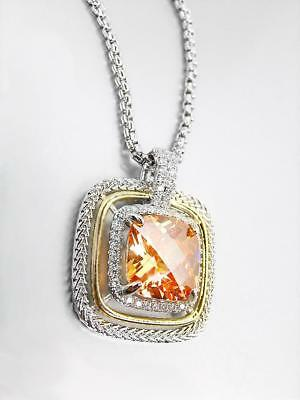 EXQUISITE Silver Wheat Cable Brown Topaz 12.66ct CZ Crystal Pendant Necklace
