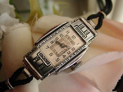 1935 Ladies Art Deco Enamel Bulova Watch~ Runs