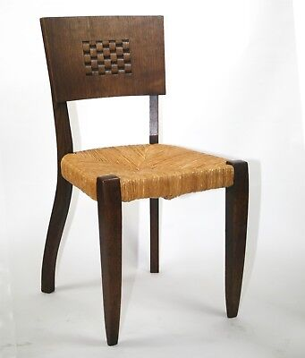 1930'S FRENCH ART DECO SET of 4 CUBIST DINING ROOM CHAIRS DUDOUYT PERRIAND
