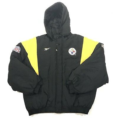 VINTAGE PITTSBURGH STEELERS Jacket Puffer Men s XL Reebok Pro Line ... cb7bc24e4