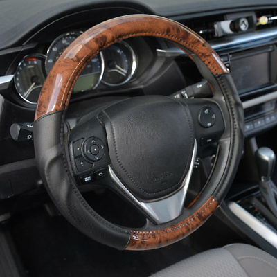 ACDelco Smooth Synthetic Leather Steering Wheel Cover Strong-Grip - Dark Wood