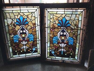 Sg 1992 Match Pair Antique Combo Windows Stained Jeweled Beveled Glass 22 X 29