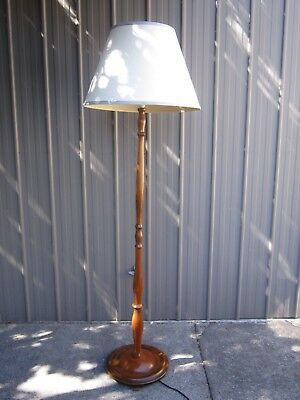 Vintage Retro Timber Standard Floor Lamp With Ivory Shade