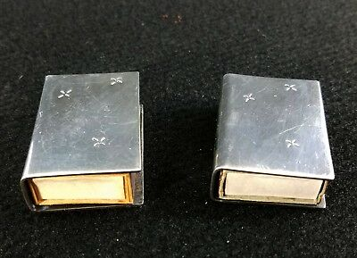 Antique Pair Sterling Silver Match Matchbox Holder Covers