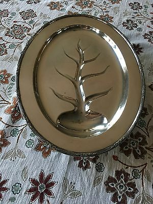 "Vintage REED & BARTON MEAT PLATTER Silver Plate Tree Of Life 13.25"" x 18"" LOVELY"