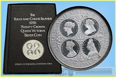 Turks and Caicos Islands 20 Crowns '4-QUEENS' Silver Proof Coin in Booklet