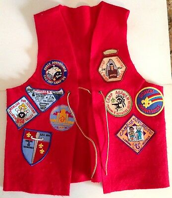 Vintage Boy Scout VEST WITH PATCHES * Combine Shipping!