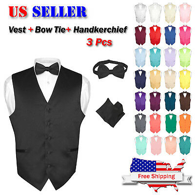 Men's Dress Vest BOWTie Hanky Solid Color Waistcoat Bow Tie Set Suit or Tuxedo