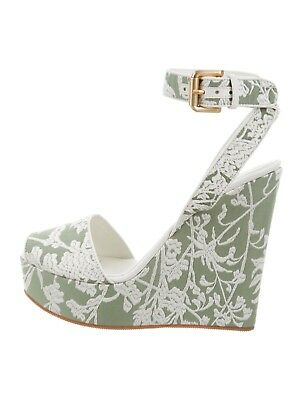 78315553357 women Sage and white canvas Santoni platform wedges with embroidery size US  8