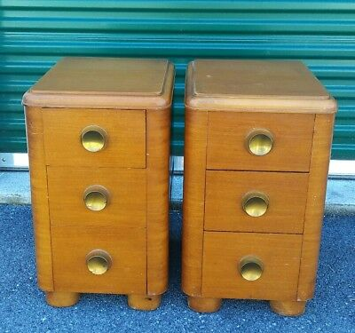 PAIR antq ART deco WATERFALL nightstands SIDE end TABLES