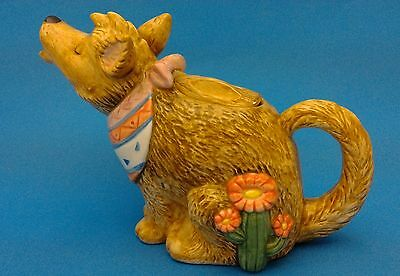 Otagiri Howling Dog Tea Pot Teapot Coyote Wolf Ceramic Hand Painted Japan Signed