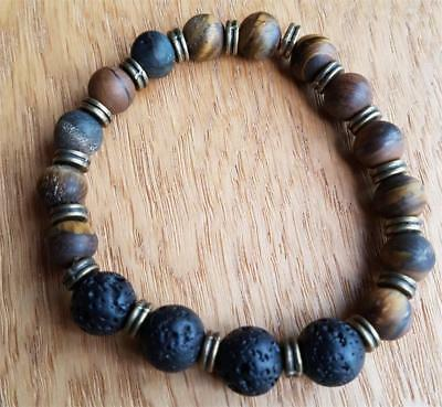 DIF2 tigerseye / lava stone grounding,protection essential oil diffuser bracelet