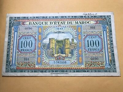 1943 Morocco 100 Francs world foreign paper money Great condition RARE