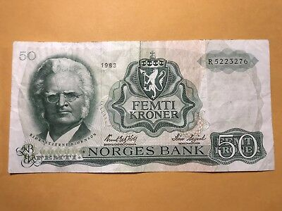 1983 Norway 50 Kroner world foreign paper money Great condition