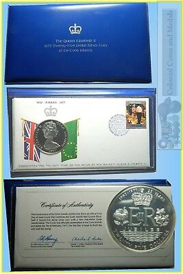 The 1977 First Day of Issue Cover $25 Sterling Silver Coin of the Cook Islands
