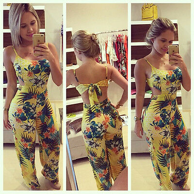 UK STOCK Womens Sexy Backless Floral Playsuit Party Evening Dress Pants Jumpsuit