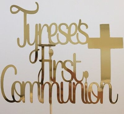 Personalised Custom Party Cake Topper Holy first Communion Cross + Add Your Name